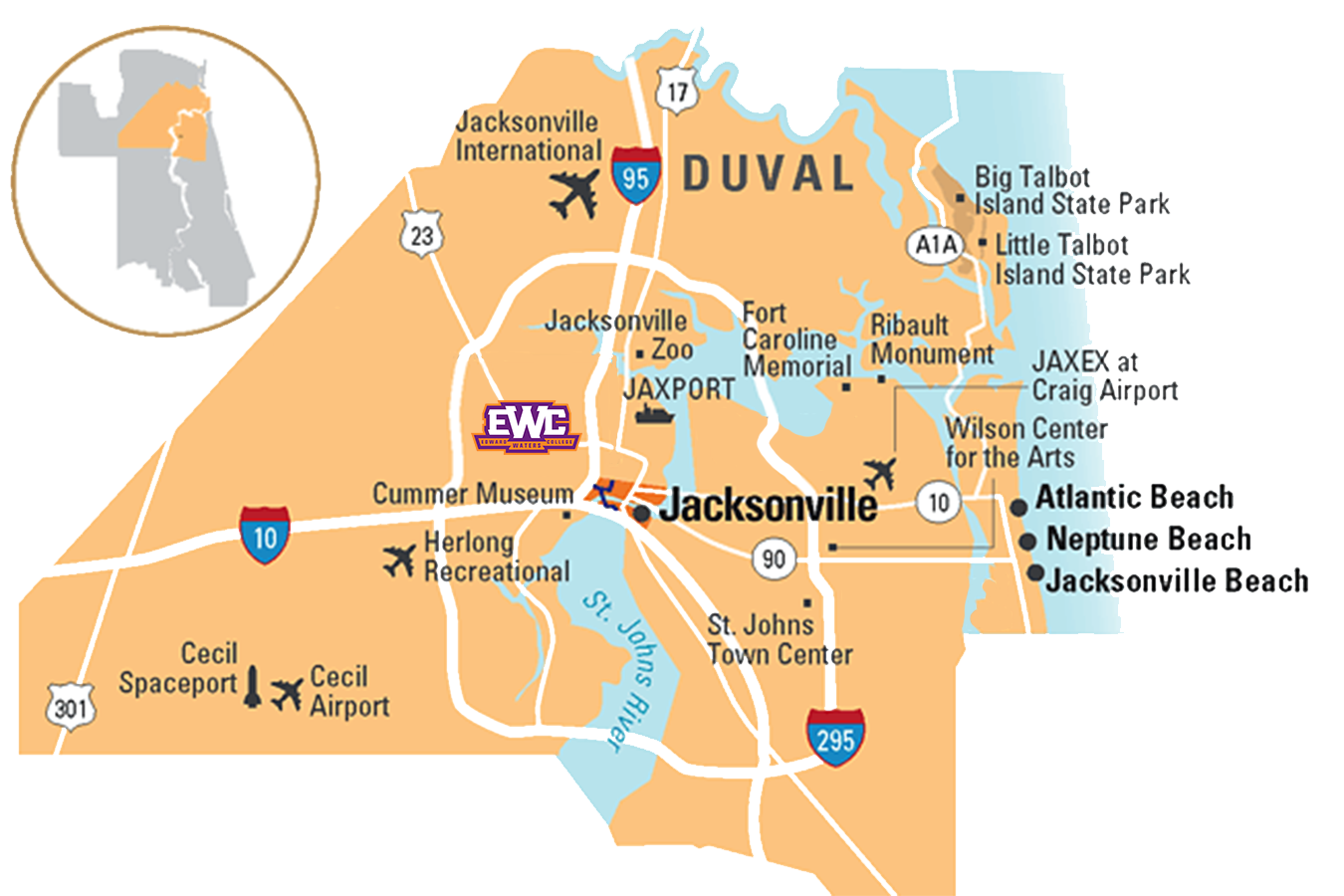Map of Jacksonville Florida with emphasis on EWC's location